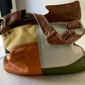 Lucky brand all leather with brass hardware purse